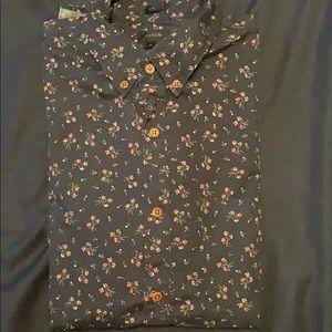 JCrew floral navy long sleeve shirt